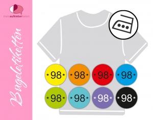 45 mini Bügeletiketten 2cm Ø | Größenlabel - Sternchen  2 | dauerhafte Kleidungsetiketten zum aufbügeln  (Kopie id: 100247537) - Handarbeit kaufen