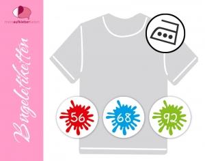 45 mini Bügeletiketten 2cm Ø | Größenlabel - Farbklecks | dauerhafte Kleidungsetiketten zum aufbügeln - Handarbeit kaufen