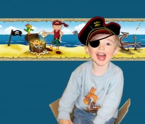 Kinderbordüre - selbstklebend | Kleiner Pirat - 15 cm Höhe | Vlies Bordüre mit Goldschatz, Piratenschiff, Wale, Piratenjunge - Handarbeit kaufen