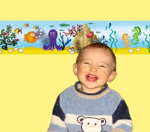 Kinderbordüre - selbstklebend   Unterwasserwelt Fische - 15 cm Höhe   Vlies Bordüre mit Seepferdchen, Oktopus, viele bunte Fische - Handarbeit kaufen