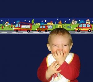 Kinderbordüre - selbstklebend | Feuerwehr bei Nacht - 18 cm Höhe | Vlies Bordüre mit Feuerwehrautos - Handarbeit kaufen