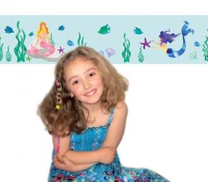 Kinderbordüre - selbstklebend | Meerjungfrau - Watercolor - 18 cm Höhe | Wandbordüre mit vielen Fischen, Muscheln, Unterwasserpflanzen und Meerjungfrauen - Handarbeit kaufen