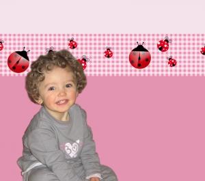 Kinderbordüre - selbstklebend | Marienkäfer auf Karomuster - 16 cm Höhe | Vlies Bordüre mit roten Käferchen - Handarbeit kaufen