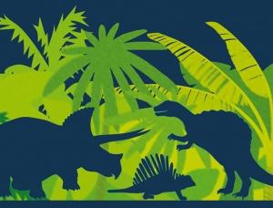 Kinderbordüre - selbstklebend | Saurier Dark Shadow - 18 cm Höhe | Vlies Bordüre mit T-Rex, Langhals, Stegosaurus, Flugsaurier  - Handarbeit kaufen