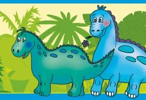 Kinderbordüre - selbstklebend | Kleine Dinos - 18 cm Höhe | Vlies Bordüre mit freundlichen Dinos  - Handarbeit kaufen