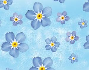 Wandbordüre - selbstklebend | Vergissmeinnicht - 17 cm Höhe | Vlies Bordüre mit zarten blauen Millefleur Blüten - Handarbeit kaufen