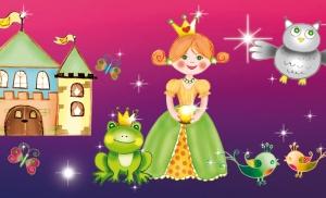 Kinderbordüre - selbstklebend | Märchen Prinzessin - 15 cm Höhe | Vlies Bordüre mit Märchenschloss, goldene Pferdekutsche, Glitzersternchen und Prinzessinnen - handgemalt - Handarbeit kaufen
