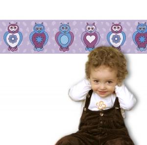 Kinderbordüre - selbstklebend | Eulen - 15 cm Höhe | Vlies Bordüre mit lustigen bunten Eulen - Handarbeit kaufen