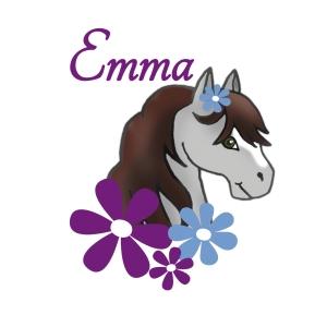 Türaufkleber | Pony - grau | Wandtattoo für Kinderzimmer mit Blumen und Wunschname - Handarbeit kaufen