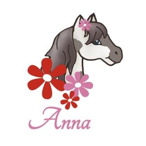 Türaufkleber | Pony - gescheckt | Wandtattoo für Kinderzimmer mit Blumen und Wunschname - Handarbeit kaufen