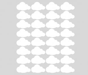 Wandtattoo | Kleine Wolken - weiß -  32 teilig | Wandaufkleber für Kinderzimmer - Handarbeit kaufen