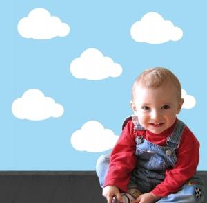 Wandtattoo | Kleine Wolken - weiß -  5 teilig | Wandaufkleber für Kinderzimmer  - Handarbeit kaufen