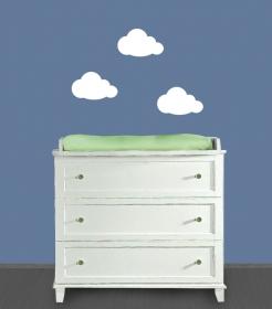 Wandtattoo | Kleine Wolken - weiß -  3 teilig | Wandaufkleber für Kinderzimmer   - Handarbeit kaufen