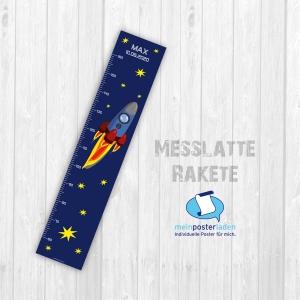 selbstklebende Messlatte | Rakete und Sterne | Wandtattoofolie, Kindermesslatte, Messleiste für Kinderzimmer  - Handarbeit kaufen