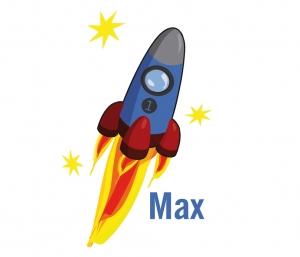 Türaufkleber | Rakete - Sterne | Wandtattoo für Kinderzimmer und Wunschname  - Handarbeit kaufen
