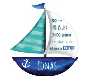 Wandtattoo | Segelboot mit Geburtsdaten - blau türkis -  maritimes Geschenk zur Geburt - Handarbeit kaufen