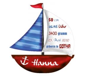 Wandtattoo | Segelboot mit Geburtsdaten - rot blau -  maritimes Geschenk zur Geburt - Handarbeit kaufen