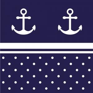 Wandbordüre - selbstklebend | Anker & Pünktchen - 20 cm Höhe | Vlies Bordüre mit maritimen Motiven - Handarbeit kaufen