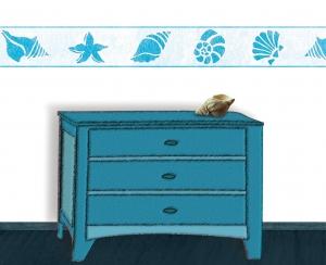Wandbordüre - selbstklebend | Muscheln türkis - weiß  - 9,5  cm Höhe | Vlies Bordüre mit maritimen Motiven - Handarbeit kaufen