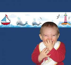 Kinderbordüre - selbstklebend | Wale - Leuchtturm - Segelboot - 20 cm Höhe | Vlies Bordüre mit maritimen handgemalten Motiven  - Handarbeit kaufen