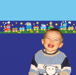 Kinderbordüre - selbstklebend | Bunte Eisenbahn bei Nacht - 18 cm Höhe | Vlies Bordüre mit lustigem Tier Zug und Sternen - Handarbeit kaufen