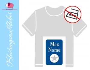 49 Textilaufkleber 1,7 x 2,6 cm | Stern - blau grau | personalisierbar, Kleidungsetiketten ohne Bügeln  - Handarbeit kaufen