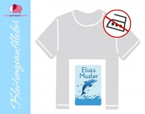 49 Textilaufkleber 1,7 x 2,6 cm | Delfin | personalisierbar, Kleidungsetiketten ohne Bügeln  - Handarbeit kaufen