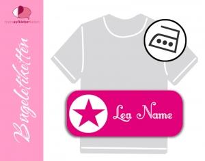 52 Bügeletiketten 2 x 5 cm | Stern - pink | permanent,  personalisierbar, dauerhafte Kleidungsetiketten zum aufbügeln  - Handarbeit kaufen