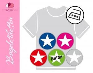 45 runde Bügeletiketten 2 cm Ø | Stern | permanent,  personalisierbar, dauerhafte Kleidungsetiketten zum aufbügeln  (Kopie id: 100252534) - Handarbeit kaufen