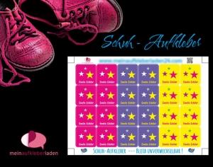 24 Schuhaufkleber | Sterne pink-gelb + Schutzfolie - personalisierbar | Namensaufkleber, Schuhetiketten   - Handarbeit kaufen