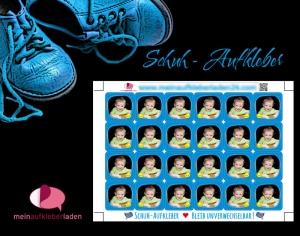 24 Schuhaufkleber mit Foto | Sonne - blau + Schutzfolie - personalisierbar mit eigenem Foto | Namensaufkleber, Schuhetiketten  - Handarbeit kaufen
