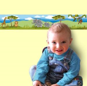 Kinderbordüre - selbstklebend | Afrika Tiere - 11,5 cm Höhe | Vlies Bordüre mit Elefanten, Giraffe, Löwe und Affe - Handarbeit kaufen