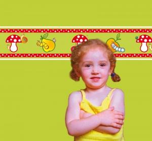 Kinderbordüre - selbstklebend | Fliegenpilz - 18 cm Höhe | Vlies Bordüre mit lustigen Schnecken und Raupen auf Obst und Fliegenpilzen - Handarbeit kaufen