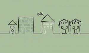 Kinderbordüre - selbstklebend | Häuser - 14 cm Höhe | schlichte Vlies Bordüre mit verschiedenen Häusern - Handarbeit kaufen