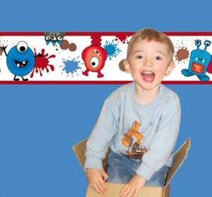 Kinderbordüre - selbstklebend | Farbklecks Monster - 15 cm Höhe | Vlies Bordüre mit lustigen bunten und fröhlichen Monstern - Handarbeit kaufen