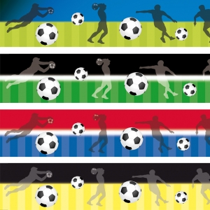 Wandbordüre - selbstklebend | Fußball - 9 cm Höhe | Vlies Bordüre mit Fußbällen und Spieler - verschiedene Farbvarianten
