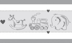 Kinderbordüre - selbstklebend | Nostalgisches Spielzeug - 17 cm Höhe | Vlies Bordüre in zarten Farben für Babyzimmer, Eisenbahn, Elefant, Schaukelpferd,  - Handarbeit kaufen