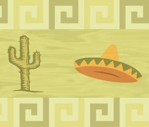 Wandbordüre - selbstklebend | Mexiko - 12 cm Höhe | Vlies Bordüre mit mexikanischen Motiven - Sombrero Hut & Kakteen - Handarbeit kaufen
