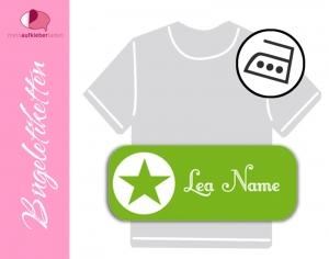 52 Bügeletiketten 2 x 5 cm | Stern - grün | permanent,  personalisierbar, dauerhafte Kleidungsetiketten zum aufbügeln   - Handarbeit kaufen