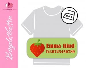 52 Bügeletiketten 2 x 5 cm | Erdbeere | permanent,  personalisierbar, dauerhafte Kleidungsetiketten zum aufbügeln  - Handarbeit kaufen
