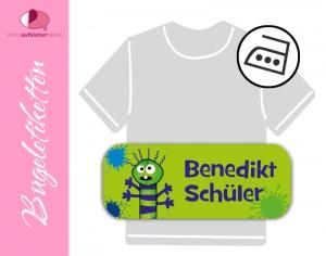 52 Bügeletiketten 2 x 5 cm | Monster grün | permanent,  personalisierbar, dauerhafte Kleidungsetiketten zum aufbügeln   - Handarbeit kaufen