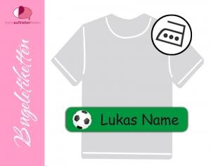 48 Bügeletiketten 1 x 5 cm | Fußball - grün | permanent,  personalisierbar, dauerhafte Kleidungsetiketten zum aufbügeln  - Handarbeit kaufen