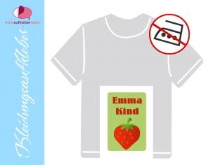 49 Textilaufkleber 1,7 x 2,6 cm | Erdbeere | personalisierbar, Kleidungsetiketten ohne Bügeln  - Handarbeit kaufen