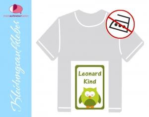 49 Textilaufkleber 1,7 x 2,6 cm | Eule - grün | personalisierbar, Kleidungsetiketten ohne Bügeln   - Handarbeit kaufen