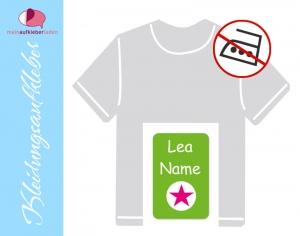 49 Textilaufkleber 1,7 x 2,6 cm | Stern - grün pink | personalisierbar, Kleidungsetiketten ohne Bügeln    - Handarbeit kaufen