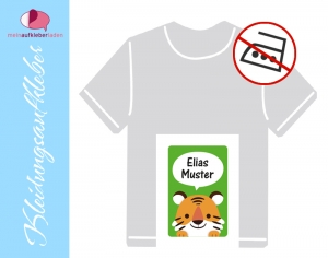49 Textilaufkleber 1,7 x 2,6 cm | Kleiner Tiger | personalisierbar, Kleidungsetiketten ohne Bügeln - Handarbeit kaufen