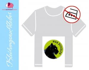 45 Textilaufkleber rund 2 cm | Schwarzer Panther | personalisierbar, Kleidungsetiketten ohne Bügeln  - Handarbeit kaufen