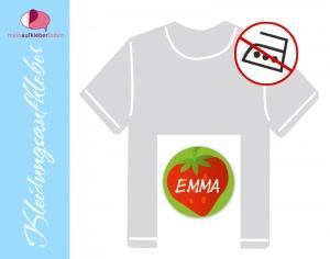 45 Textilaufkleber rund 2 cm | Erdbeere | personalisierbar, Kleidungsetiketten ohne Bügeln  - Handarbeit kaufen