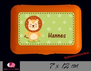 Aufkleber für Brotdosen | niedlicher Löwe - grün | personalisierbar | große Namensetiketten, Schuletiketten    - Handarbeit kaufen