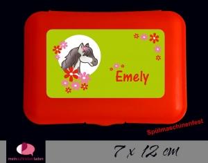 Aufkleber für Brotdosen | Pony Blumen - grün | personalisierbar | große Namensetiketten, Schuletiketten  - Handarbeit kaufen